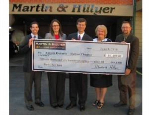 Cheque presented at the Martin & Hillyer's 17th Annual Charity Bowlathon