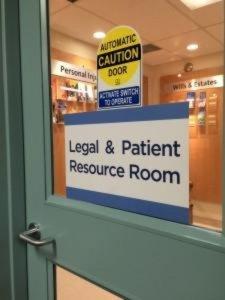 """Door Sign reads """"Legal & Patient Resource Room"""""""