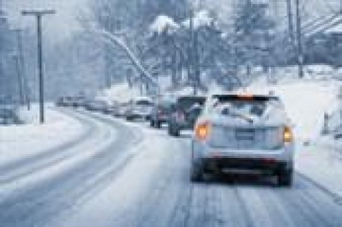 Car driving on a winter road