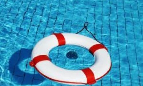 A pool ring float in the water